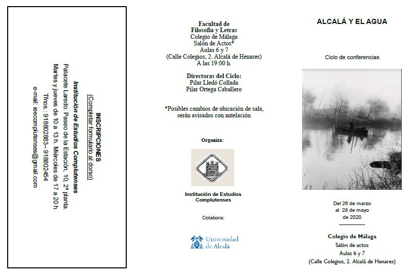 Tríptico del Ciclo de Conferencias 'Alcalá y el agua'